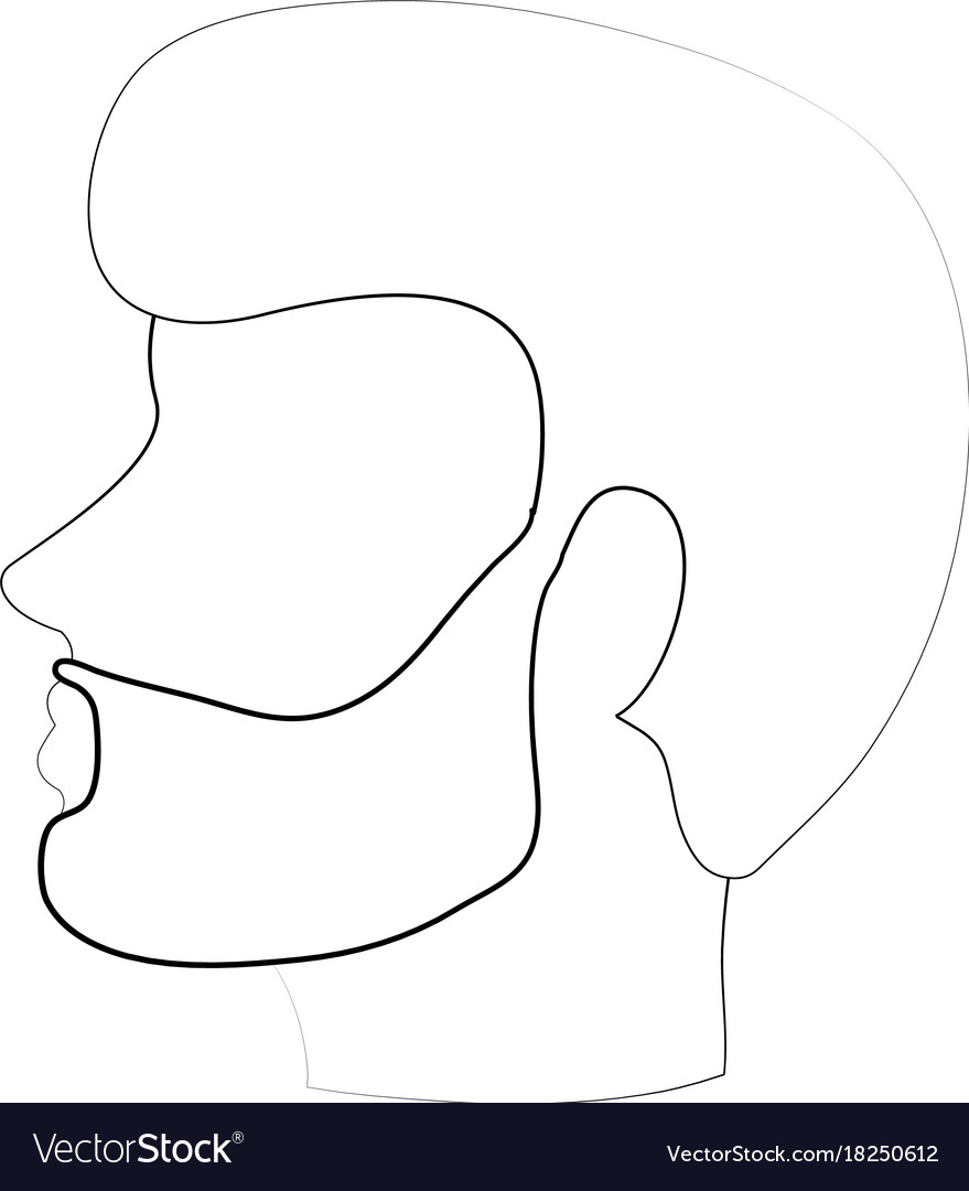 Bearded man avatar head sideview icon image.