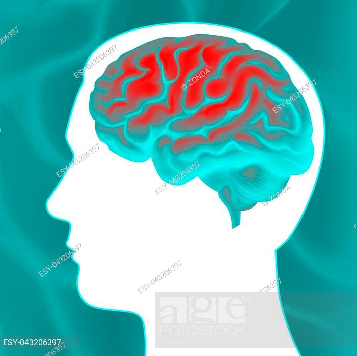 Vector glowing turquoise human brain with white head.