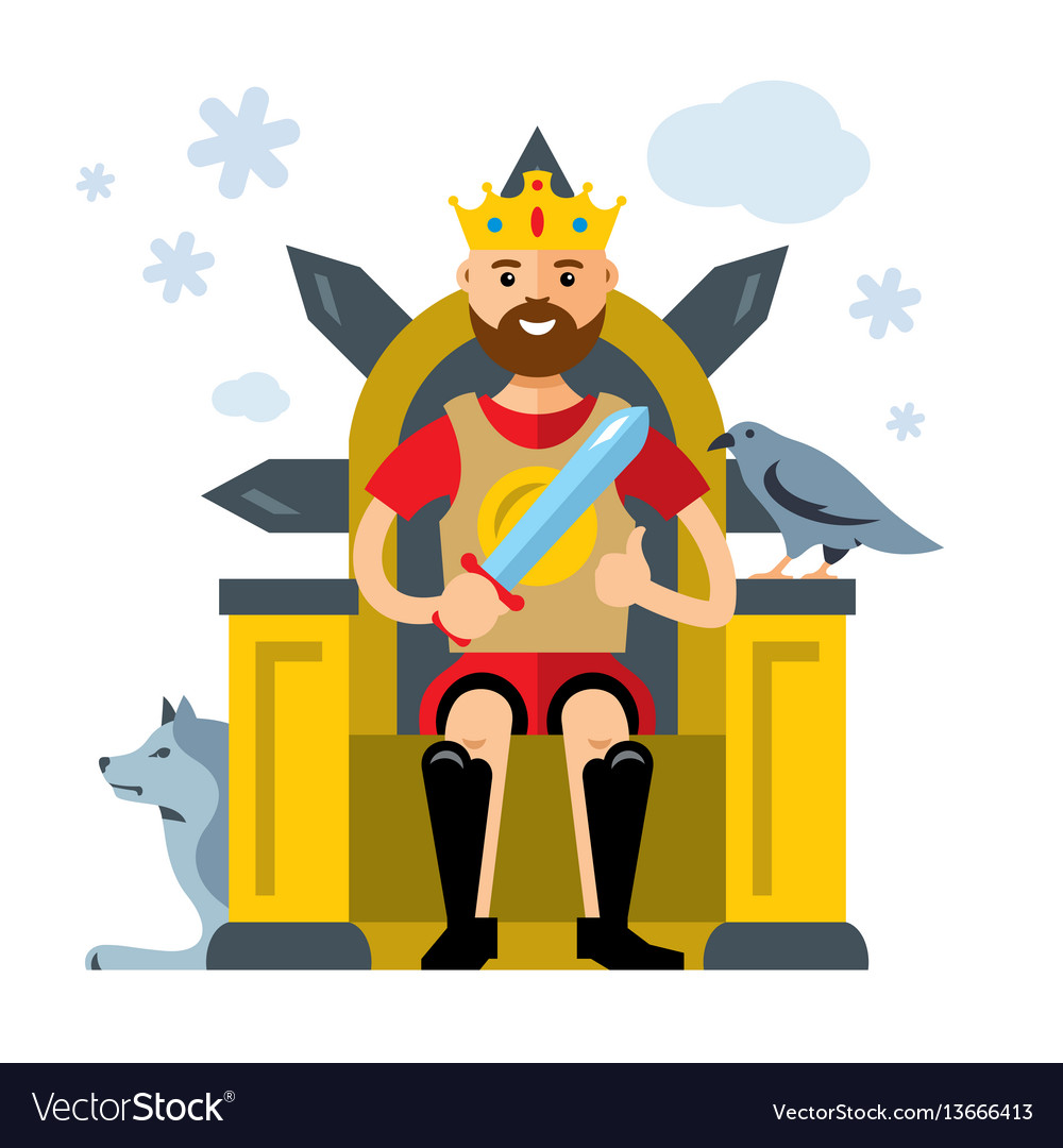 King on throne flat style colorful cartoon.