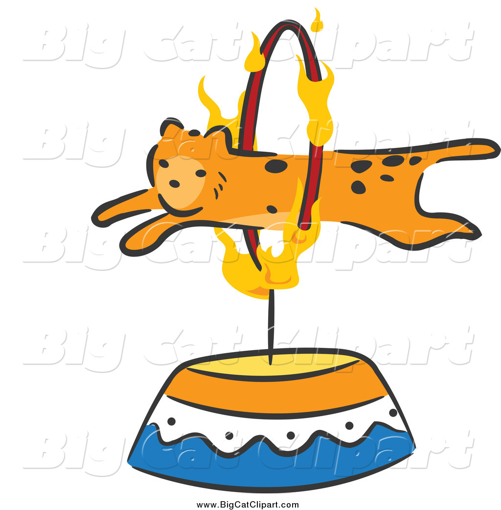 Big Cat Cartoon Vector Clipart of a Cheetah Leaping Through a.