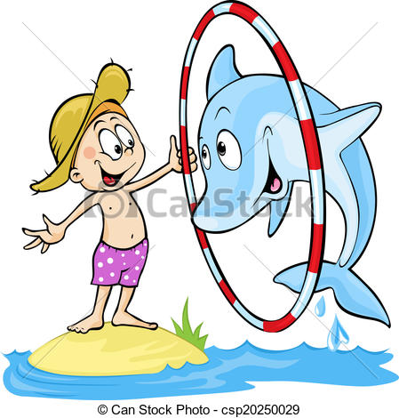 Vector Illustration of child playing with dolphin.