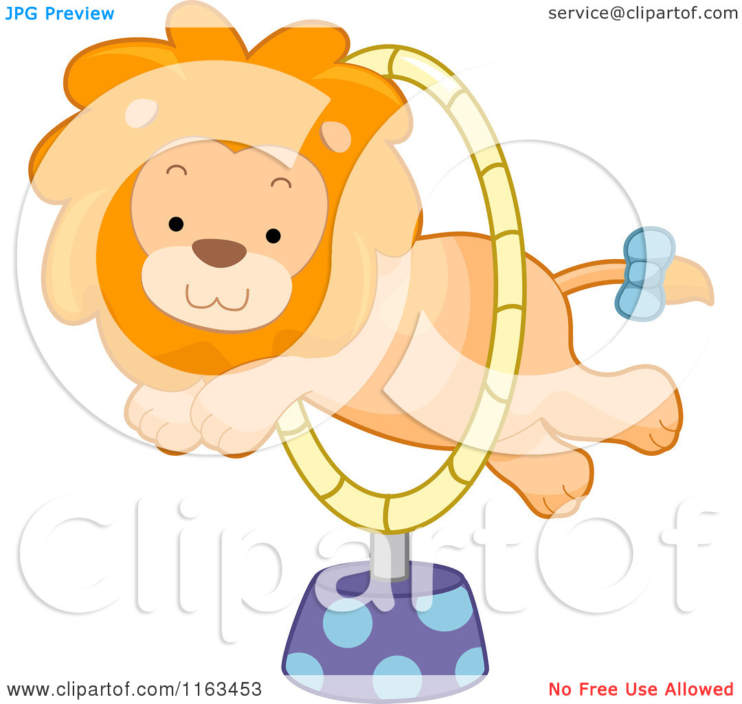 Cartoon of a Circus Lion Leaping Through a Hoop.