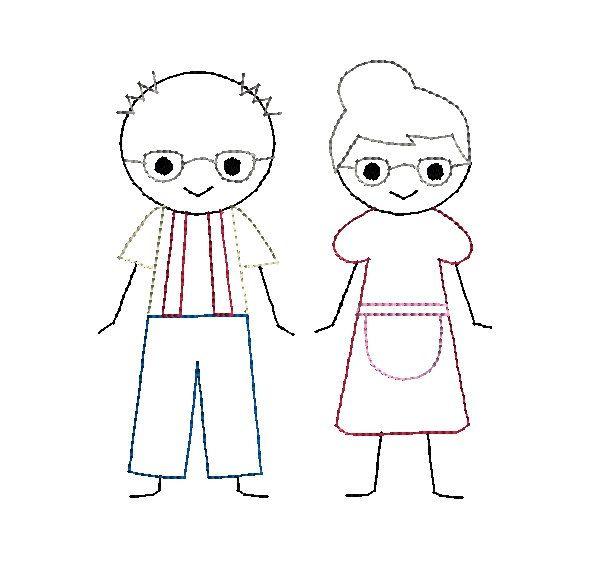 Grandpa and Grandma Stick Figures Machine Embroidery Designs.