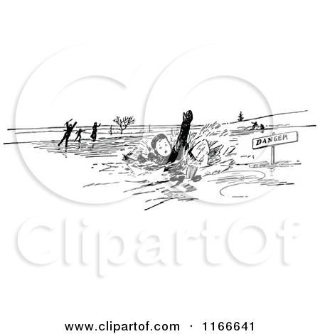 Clipart of Silhouetted Children Falling Through Ice.