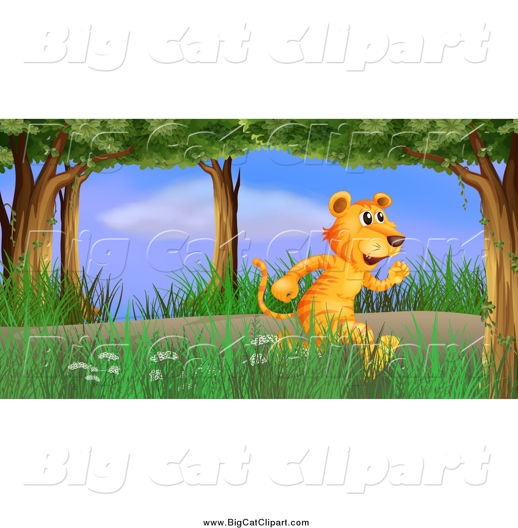 Big Cat Cartoon Vector Clipart of a Tiger Running Through the.
