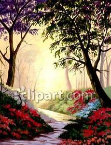 Path Through the Woods Royalty Free Clipart Picture.
