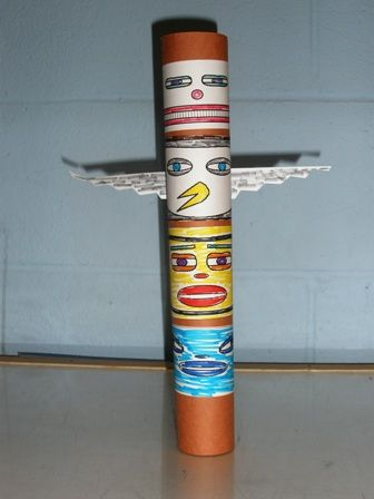 Make a Totem Pole out of toilet paper or paper towel rolls.