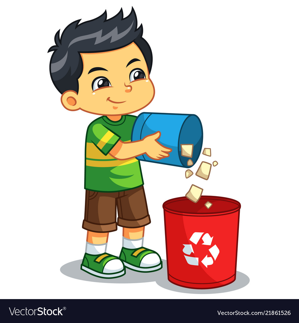 Boy throwing garbage in the trash can vector image.