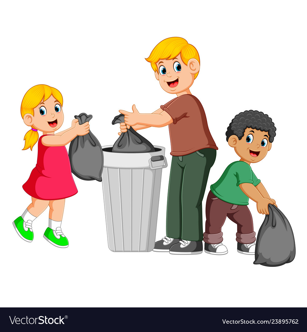 Father and his kids to throw away garbage.