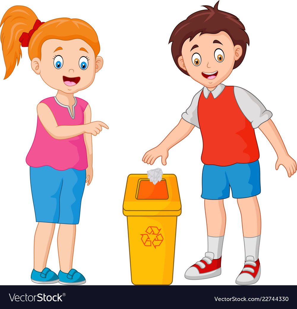 Kid throws garbage in the trash vector image.