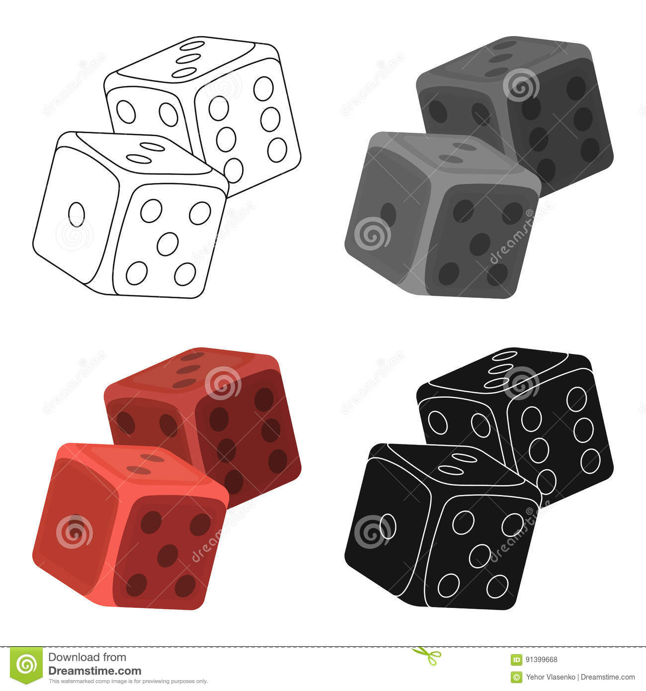 Dice For Games In The Casino. Stones To Throw On The Table For.