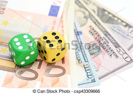Stock Image of Throw dice to win on a game table csp43309666.