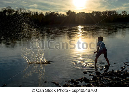 Boy Throwing Stones into River.