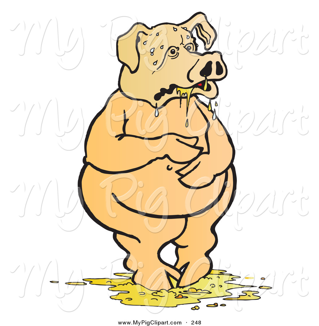 Swine Clipart of a Nauseated Pig Standing in Throw up by.