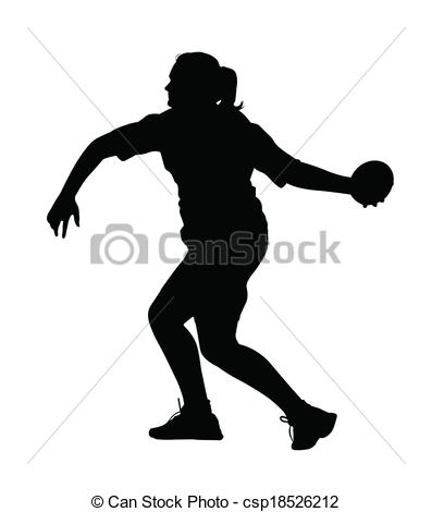 Vector Clip Art of Side Profile of Girl Discus Thrower Turning to.