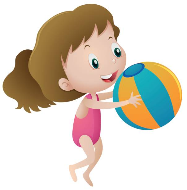 Girl Throwing Ball Clipart.