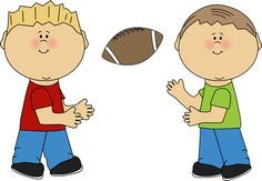 two little boys playing football clipart.