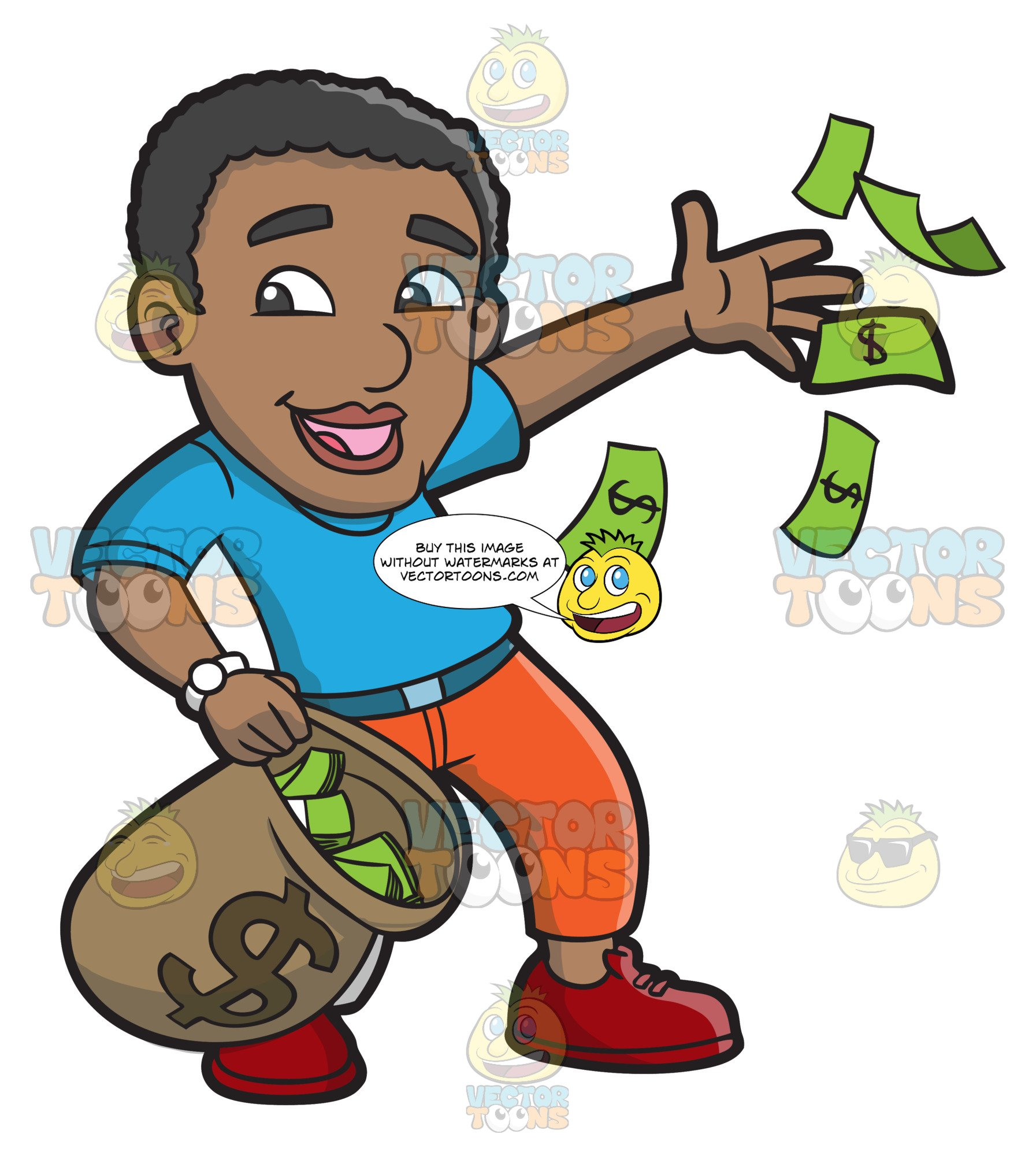 A Black Guy Happily Throws His Money Away.