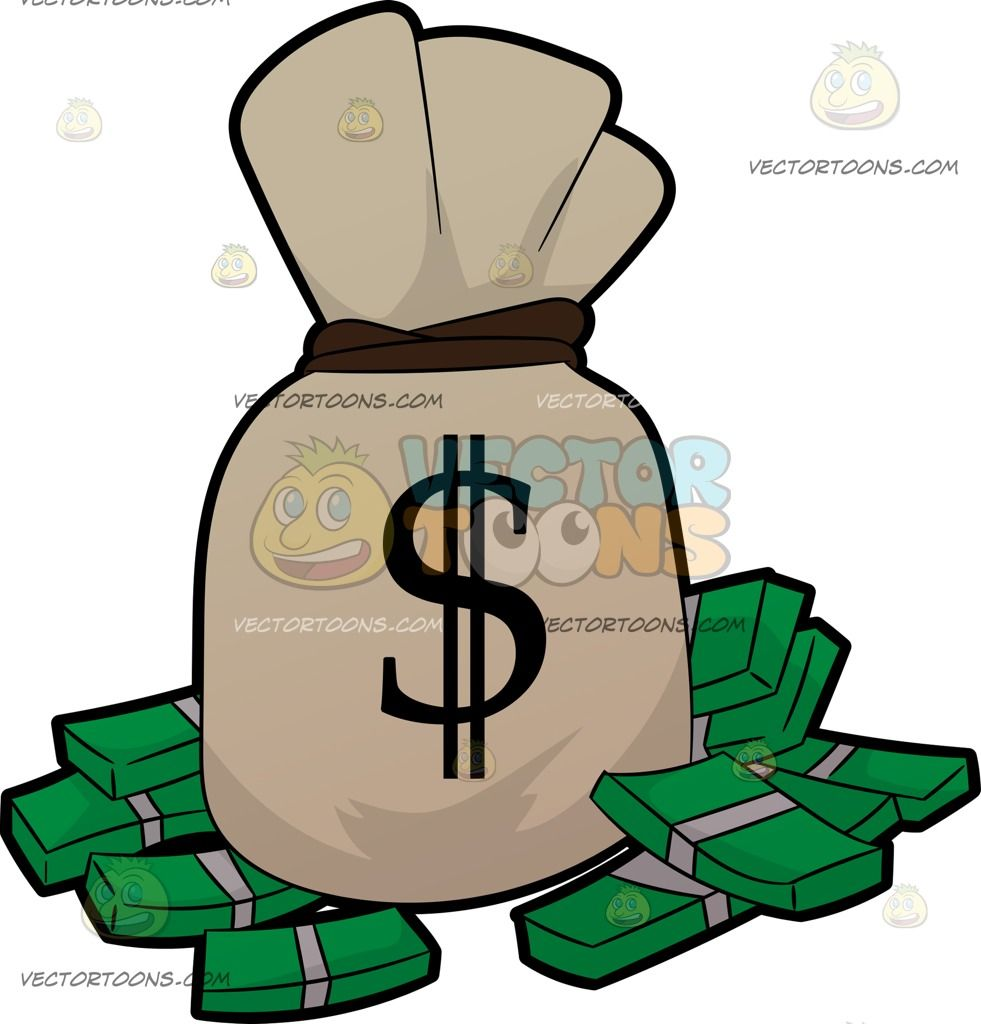 Cartoon A Bag Of Money And Bundles Of Cash vector clip art.