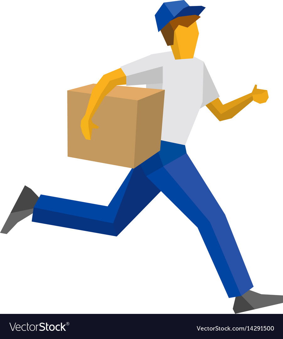 Running delivery man holding carton box.