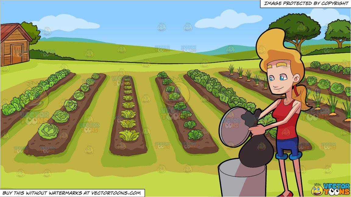 A Woman Throwing Garbage Into The Bin and A Vegetable Garden Background.