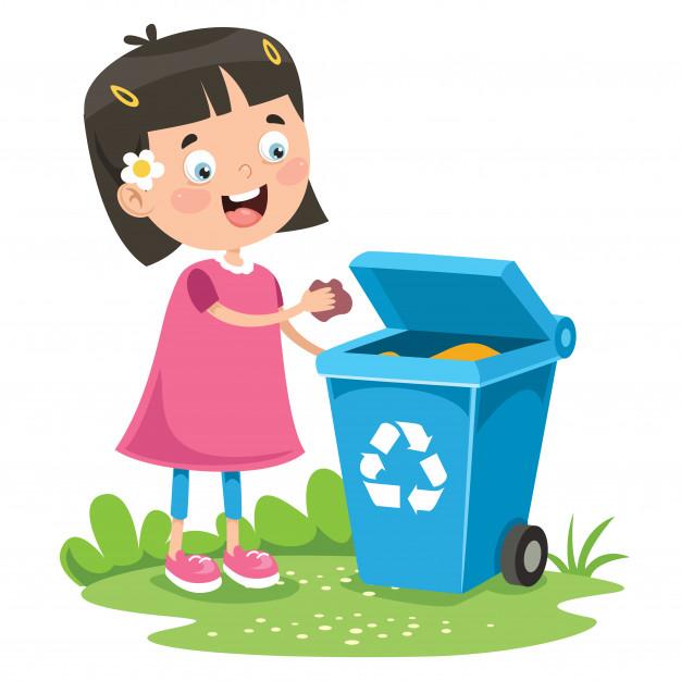 Kid throwing garbage in trash bin Vector.
