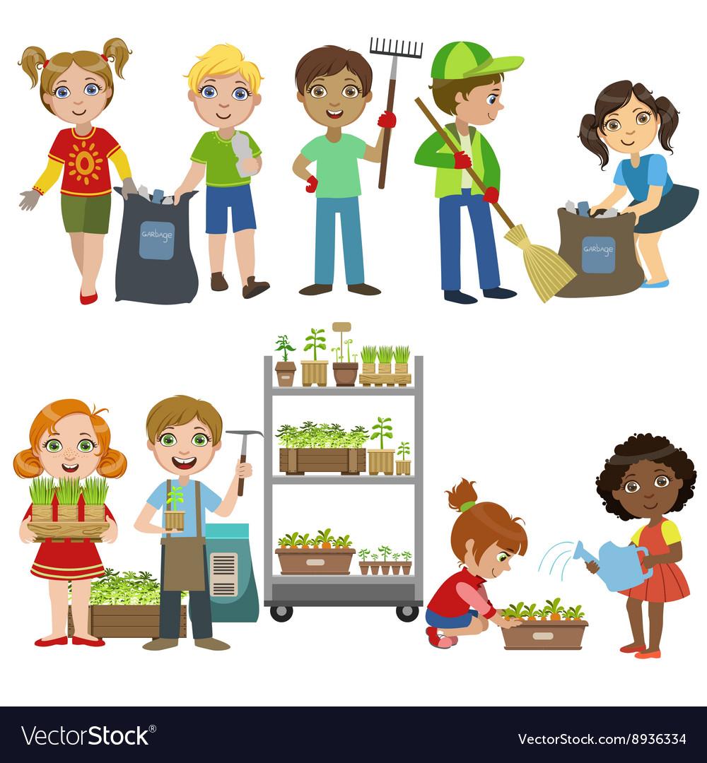 Kids Gardening And Picking Up Garbage Set.