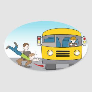 Thrown Under Bus Oval Sticker.