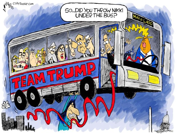 Thrown under the bus cartoon.