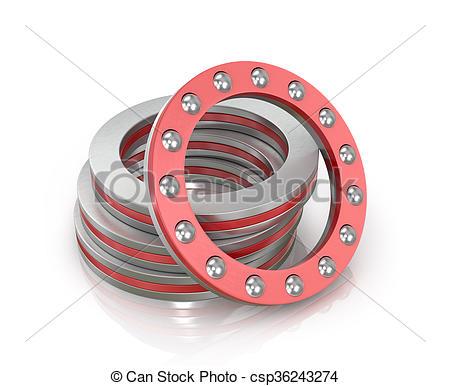 Stock Illustrations of Bearings Thrust ball isolated white.