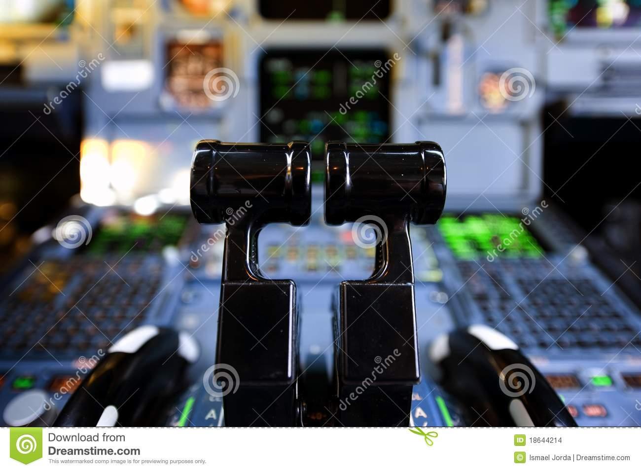 Aircraft Thrust Levers Stock Photo.