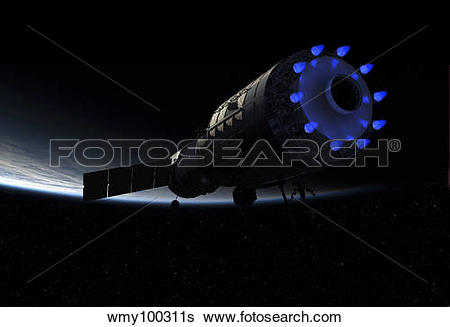 Stock Illustration of An orbital maintenance platform fires it.