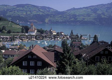 Stock Photo of Switzerland, Berne, Bern, Thunersee, Scenic view of.