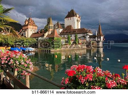 Stock Photo of Palais Oberhofen at the village of Oberhofen at.