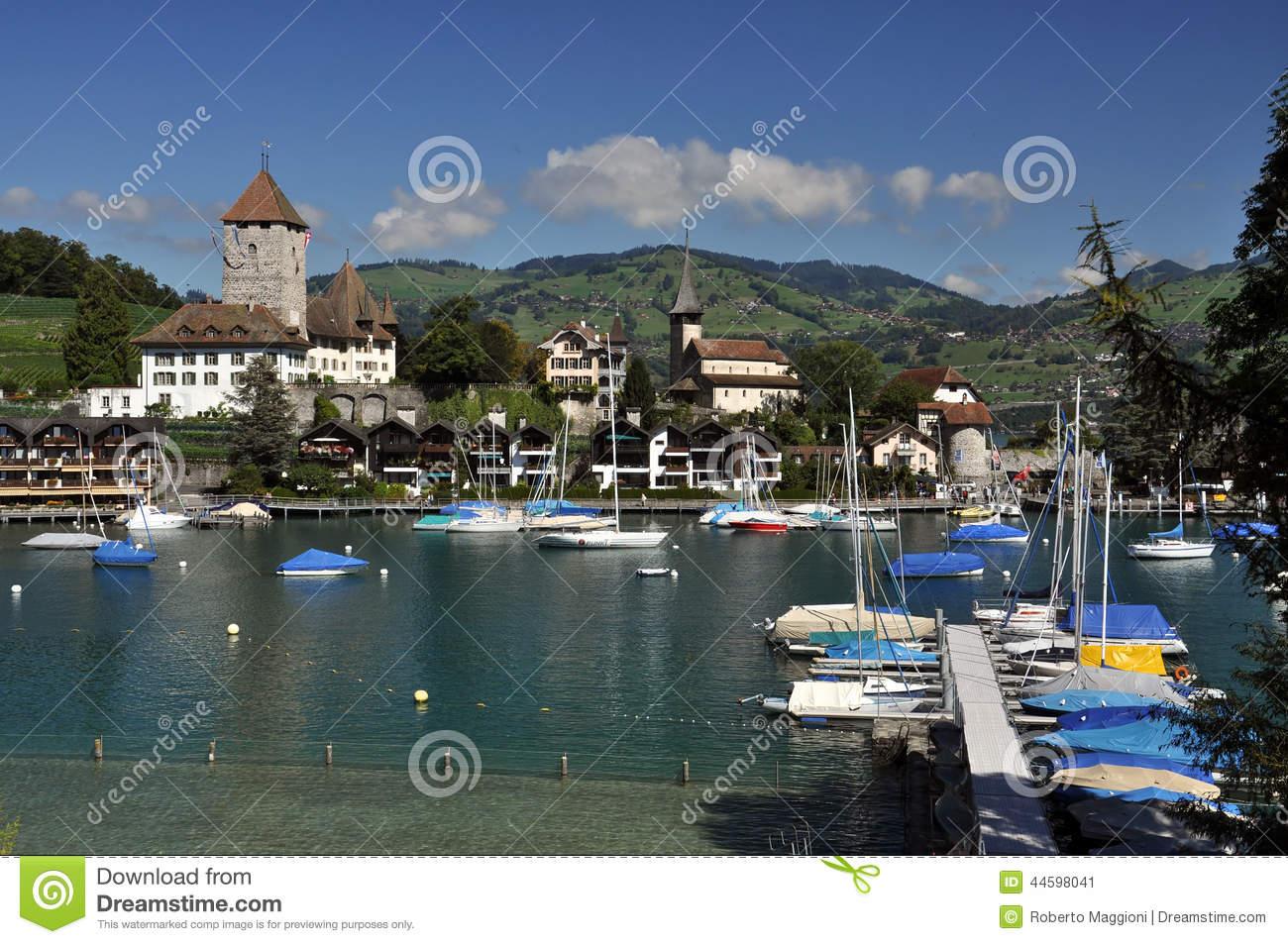 View Of Spiez Harbor, Thunersee, Switzerland Stock Photo.