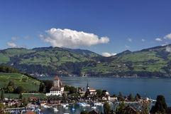 Sailboat Pier, Thunersee, Spiez, Switzerland Stock Photo.