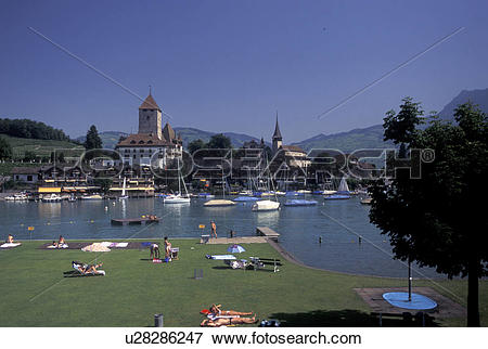 Picture of Switzerland, Berne, Bern, Thunersee, Public beach along.