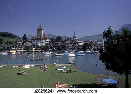 Picture of Switzerland, Berne, Bern, Thunersee, Public beach along.