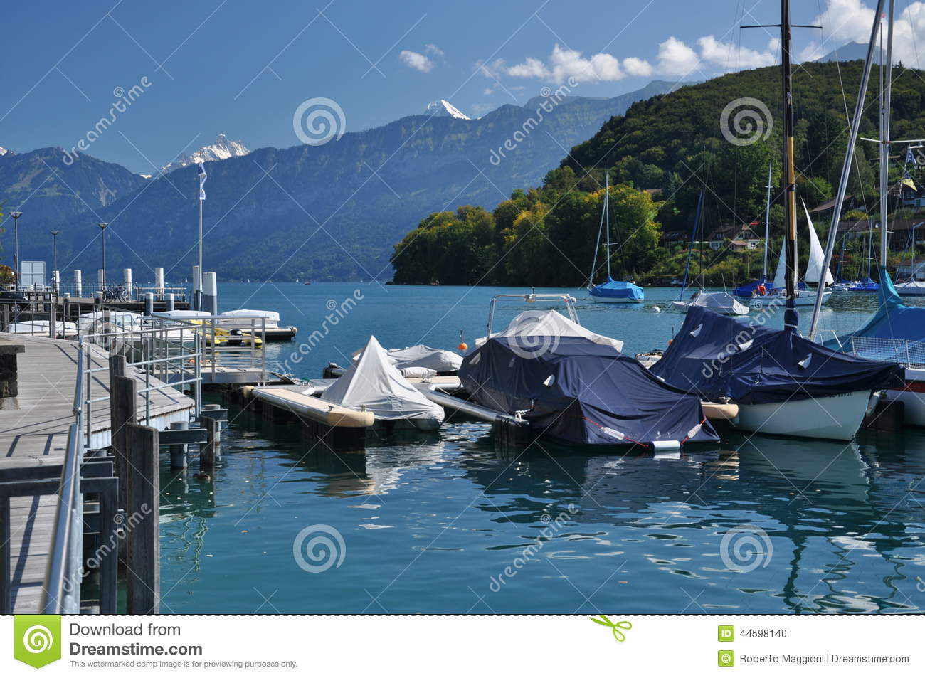 Sailboat Pier, Thunersee, Spiez, Switzerland Stock Photo.