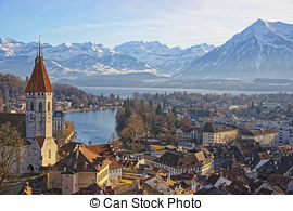 Stock Photo of Panorama of Thun Church and City with Alps and.