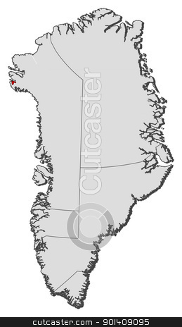 Map of Greenland, Thule Air Base highlighted stock vector.