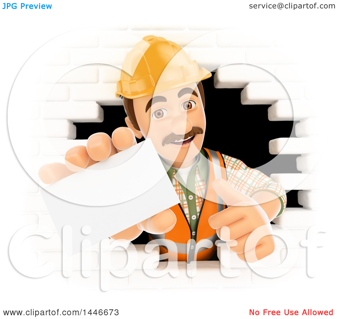 Clipart of a 3d Male Mason Worker Giving a Thumb up and Holding.