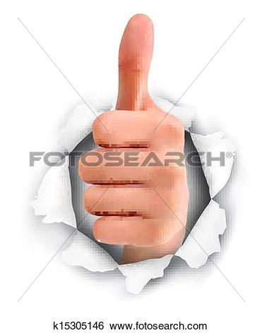 Clip Art of Hand with thumb up through a hole in ripped paper.