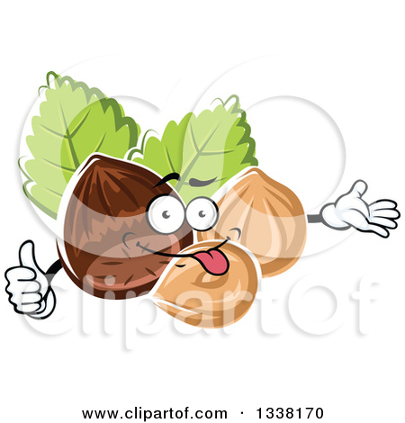 Clipart of a Cartoon Hazelnut Character Presenting and Giving a.