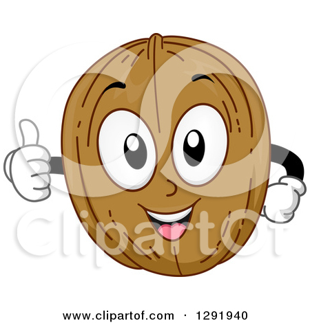 Clipart of a Cartoon Happy Walnut Character Holding a Thumb up.