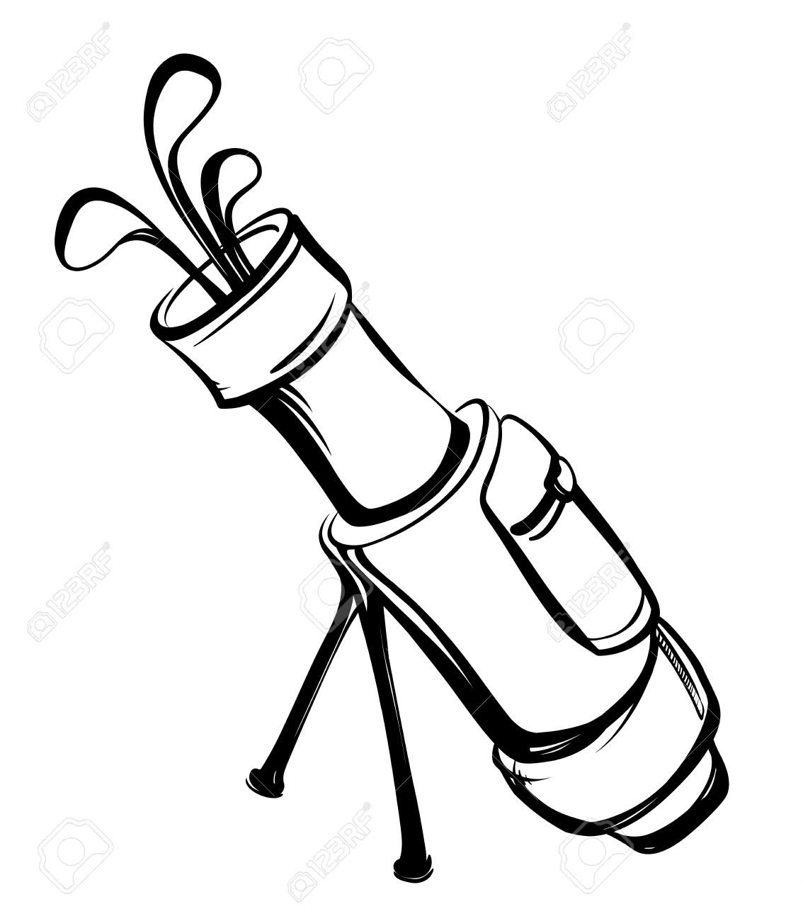 Golf Bag With Clubs In Black And White Style Thumbnail View On.