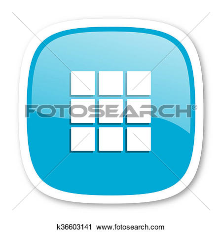 Clipart of thumbnails grid blue glossy web icon k36603141.