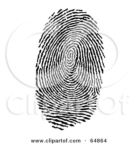 Clipart of a Black and White Finger Thumb Print.