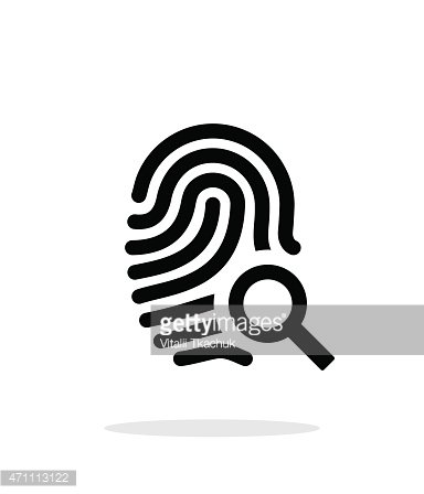 Fingerprint and thumbprint icon on white background Clipart.