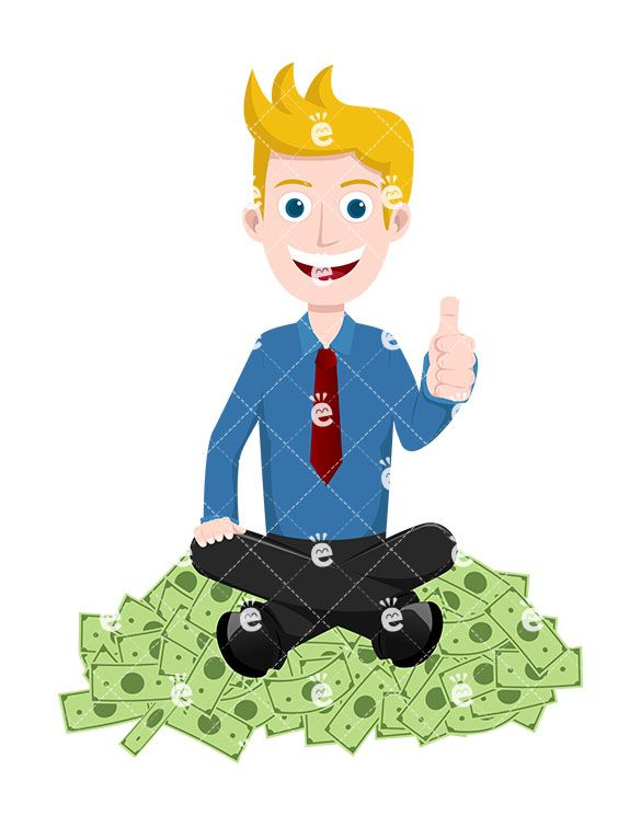 A Man Seated On A Pile Of Money, Giving The Thumbs Up.